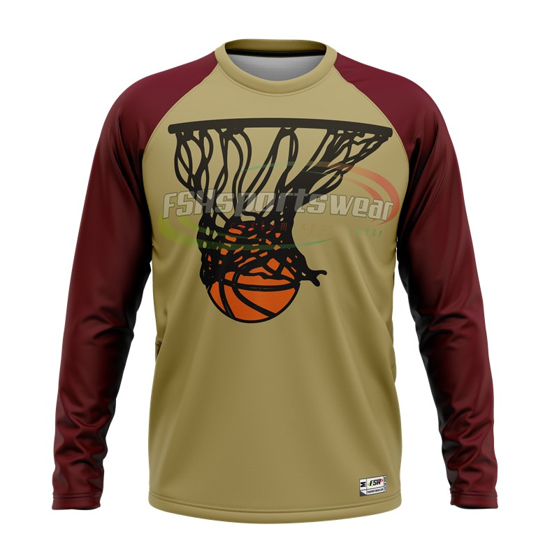 Custom long sleeve high quality sublimated basketball shooting shirts