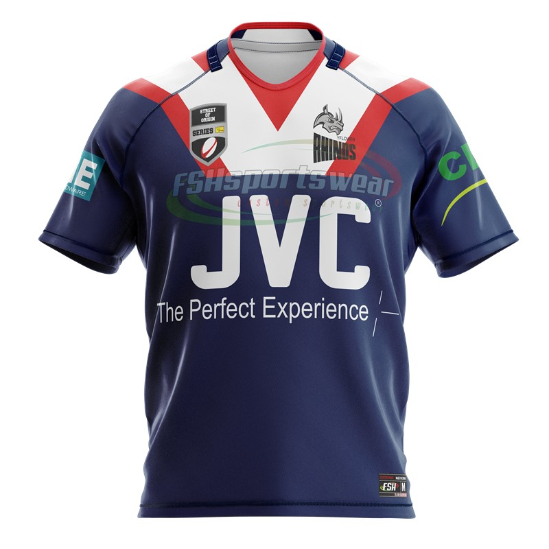 100% polyester with Spandex fabric custom sublimated rugby jersey for training