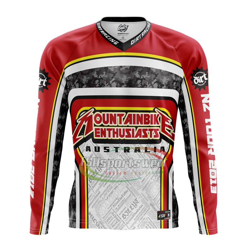 OEM team wear custom digital print mountain bike BMX shirt blank mtb jersey