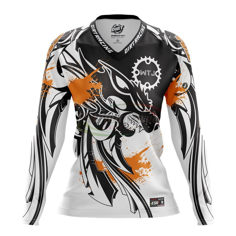 Sublimation mountain bike jersey Men, Breathable/Anti-Sweat UV-protect long Sleeves with Elbow Protection MTB jersey