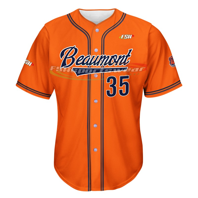 China Full Button Polyester Baseball Jersey Custom Sublimation