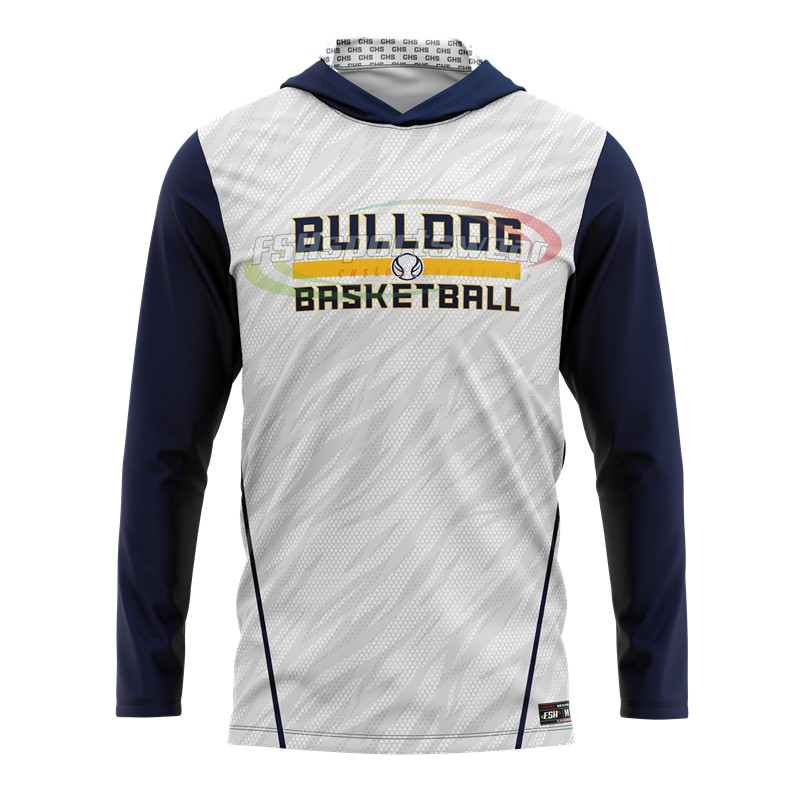 100% Polyester Custom Sublimated Basketball Long sleeve hooded shooting shirt