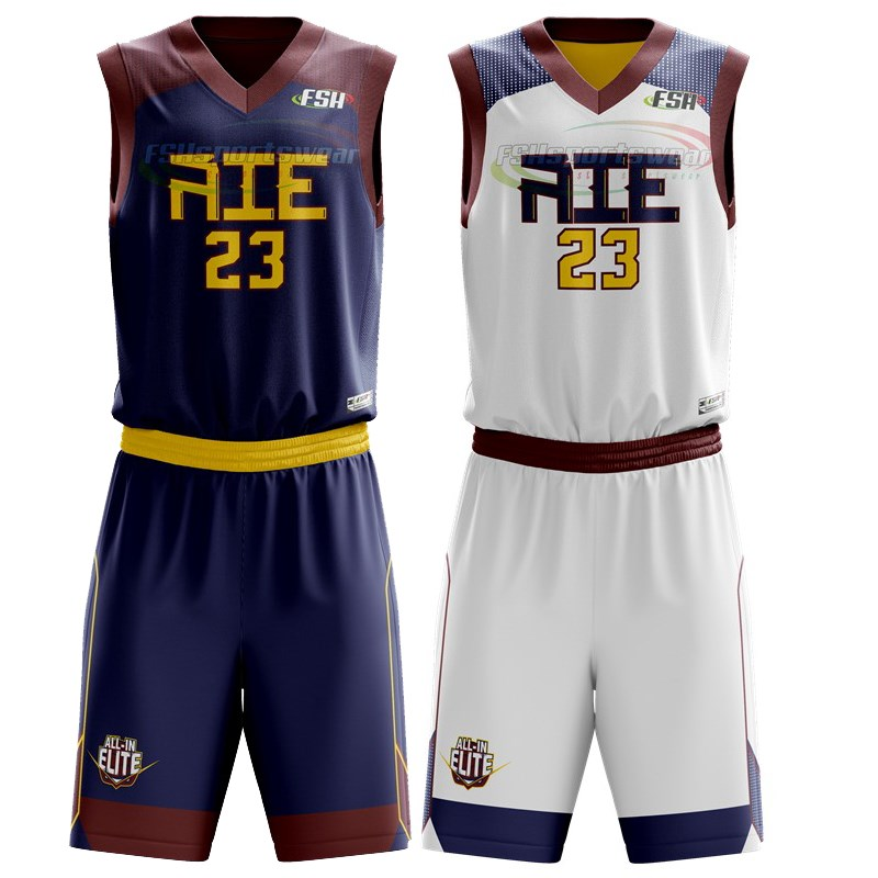 Custom made Sublimated reverse basketball uniform