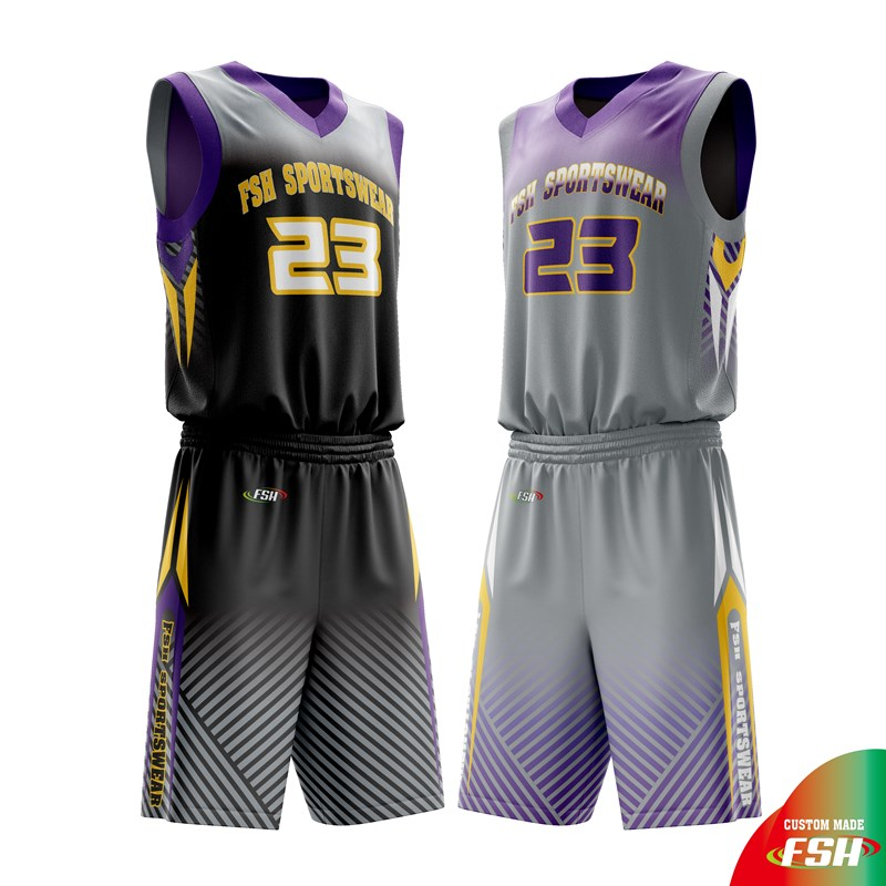 Collegiate reverse basketball uniform, sublimated basketball jersey