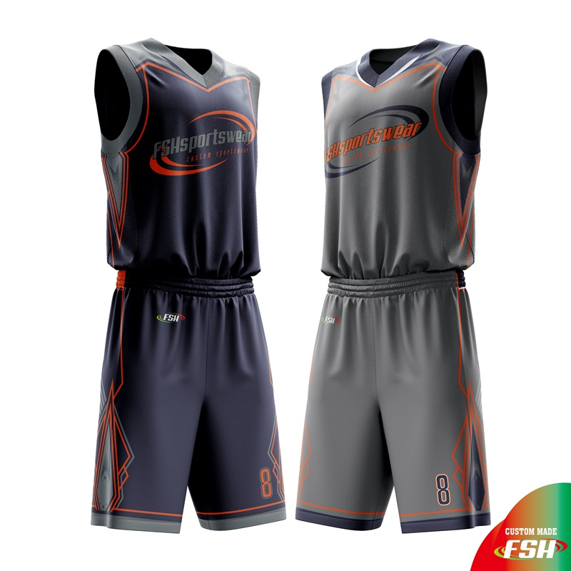 Collegiate sublimated reverse basketball jersey