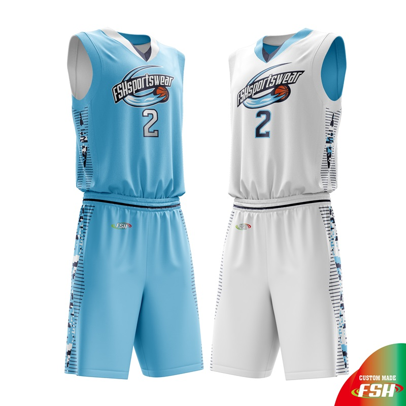 Sky Blue Reverse Basketball Jersey Sublimation Print