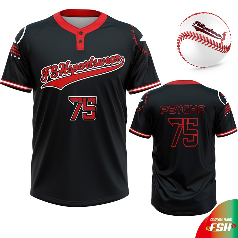 Cutom sublimation print 2 buttons baseball jersey baseball shirt